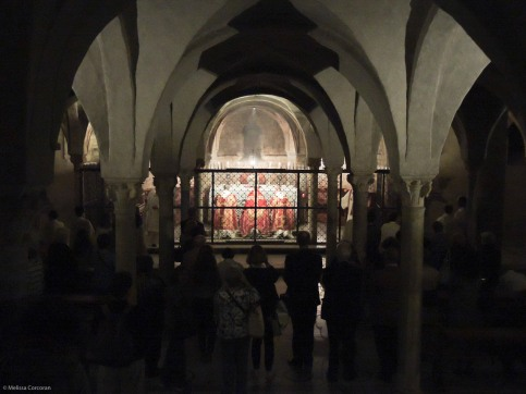 In the crypt at the end of the observance.