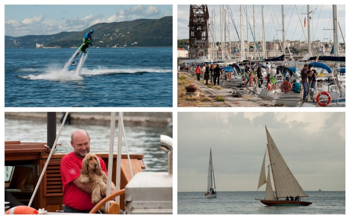 Clockwise from top left:  water jetpack and jet ski; evening activity on the waterfront; under sail; sailor and dog.