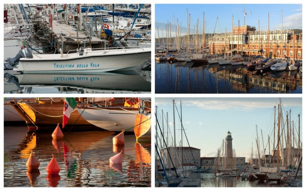 Clockwise from top left:  Trieste sailing; sailboats at a marina; lighthouse at the end of a marina; buoys glowing in late afternoon sunshine.