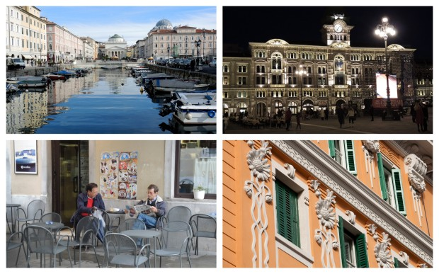 Clockwise from top left:  the Grand Canal; the Piazza Unità d'Italia; sunflowers in stone; Saturday morning at the cafe.