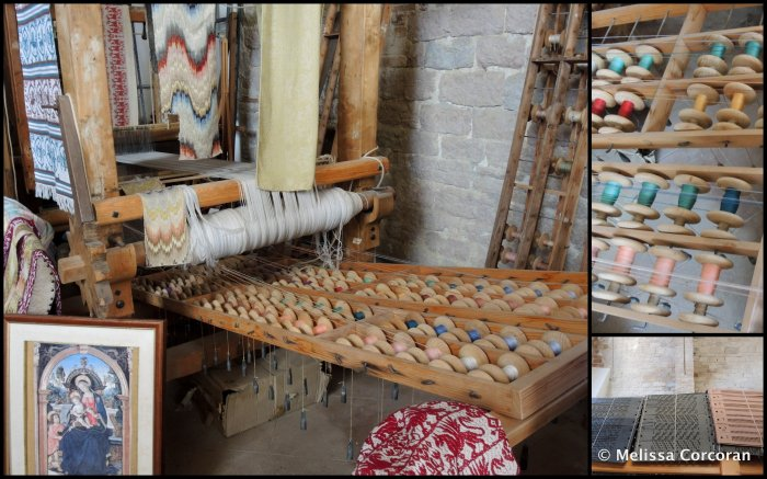 "Clockwise from left: loom used to weave ""Fiamma di Perugia""; close-up of loom; the 'computer cards' used on the Jacquard looms."