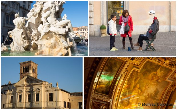 Clockwise from top left: the Fontana dei Quattro Fiumi; street performer and audience; inside of