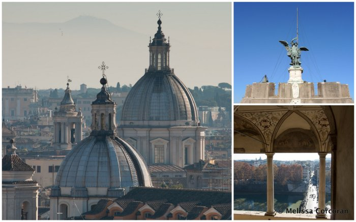 Clockwise from left: view from the roof of Castel Sant'Angelo; the angel; view from doorway of Sala Paolina.