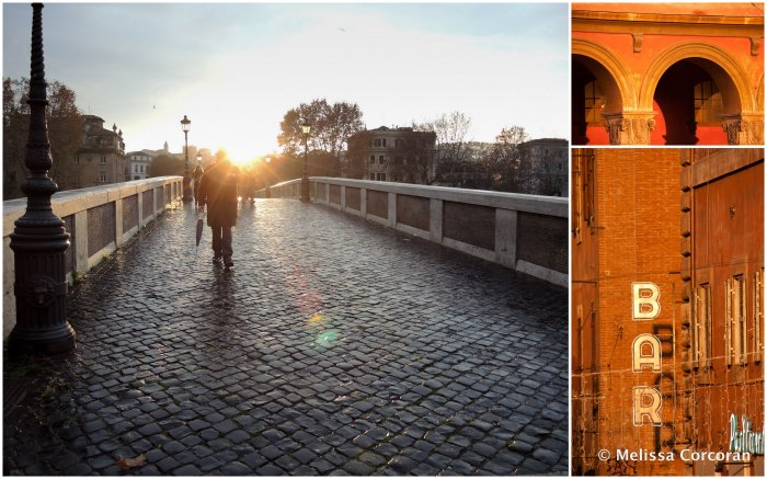 Left: the Ponte Sisto. Right: sunlit buildings.