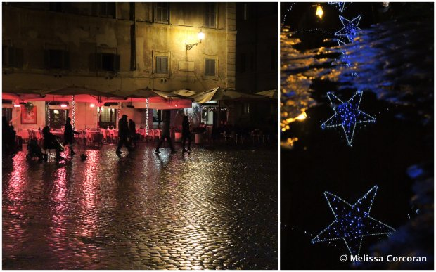 Left: Piazza di Santa Maria. Right: street decorations reflected in puddles.
