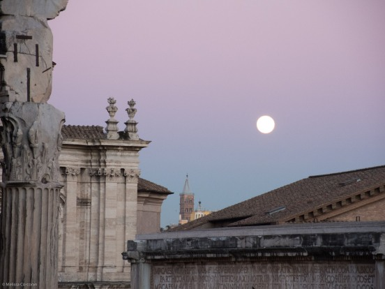 Full moon over the Roman Forum.