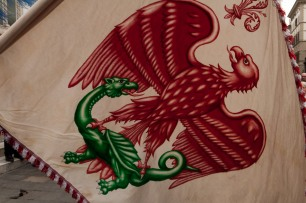 Detail of one of the flags.