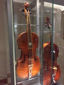 A tenor viola and violoncello made by Stradivari.