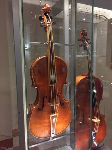 A tenor viola and violoncello made by Stradivari.