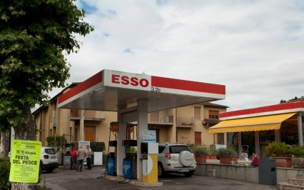 The gas station with a poster for a food festival (one of my favorite features of Italy!).