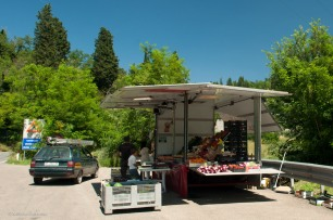 A recent stop at the produce truck yielded cherries, tomatoes, and sweet onions.