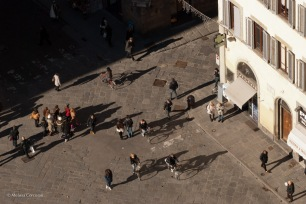 Midday shadows in the Piazza del Duomo, seen from the Campanile di Giotto.