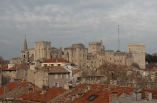 The Palais des Papes across the rooftops of Avignon from the parking garage where we looked for a geocache.