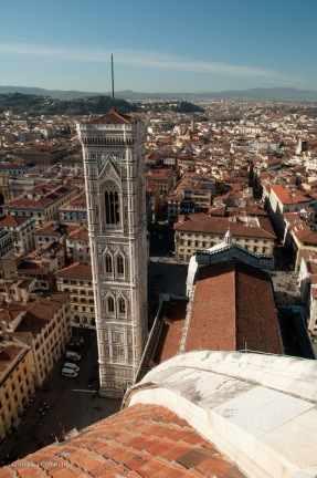 A somewhat vertiginous view from the top of the dome of the Duomo in Florence.