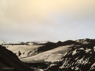 The stark landscape of Deception Island, a volcano.
