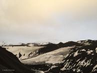 The stark landscape of Deception Island, a volcano.
