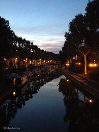 The Canal de la Robine at night.