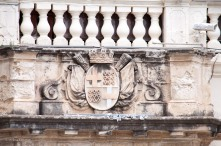 and heraldic shields carved in stone on many buildings.