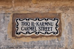 The street signs in Mdina had a different style than those in Valletta.
